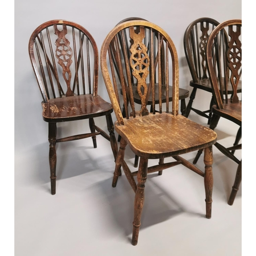 20 - Set of six pine spindle back kitchen chairs {90 cm H x 40 cm W x 45 cm D}....