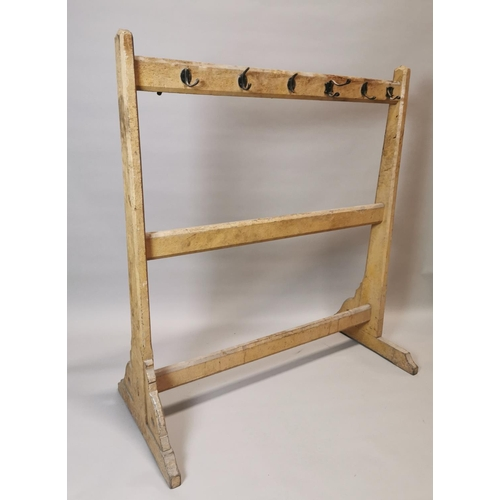 21 - Early 20th C. painted pine double sided coat rack {153 cm H x 137 cm W x 66 cm D}....