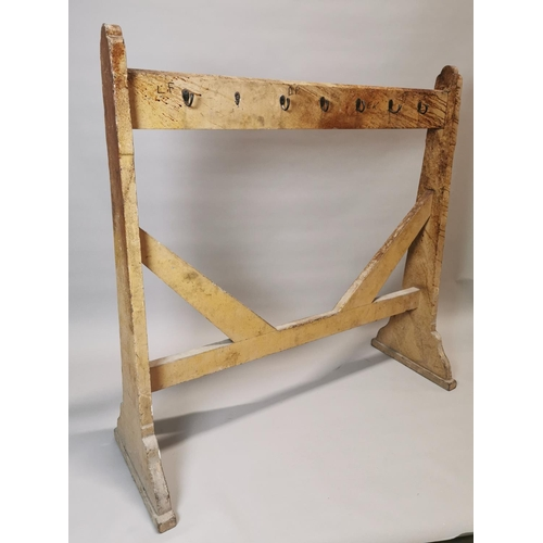 22 - Early 20th C. painted pine double sided coat rack {151 cm H x 153 cm W x 55 cm D}....