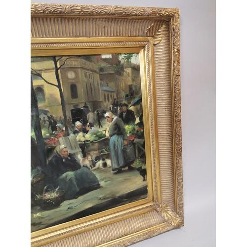 24 - Framed oil on canvas Market Scene mounted in gilt frame {72 cm H x 97 cm W}....
