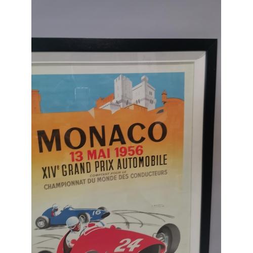 25 - Framed Monaco Grand Prix advertising print {94 cm H x 68 cm W}....