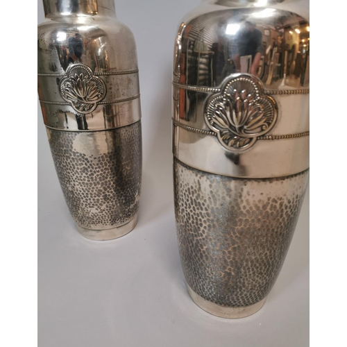 27 - Pair of silver plate Art Nouveau vases with hand beaten decoration Stamped WMF {41 cm H x 16 cm Dia....