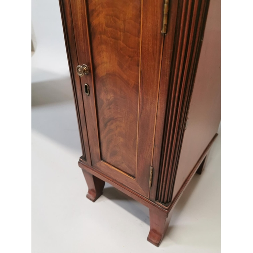 28 - 19th C. inlaid mahogany pedestal side board of neat proportions {110 cm H x 150 cm W x 50 cm D}....
