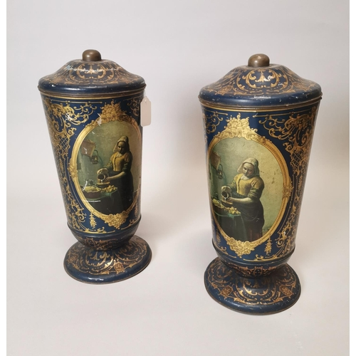 3 - Two 19th C. hand painted sweet tins....