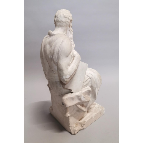 30 - 19th C. plaster statue of Grecian God {61 cm H x 25 cm W x 29 cm D}.