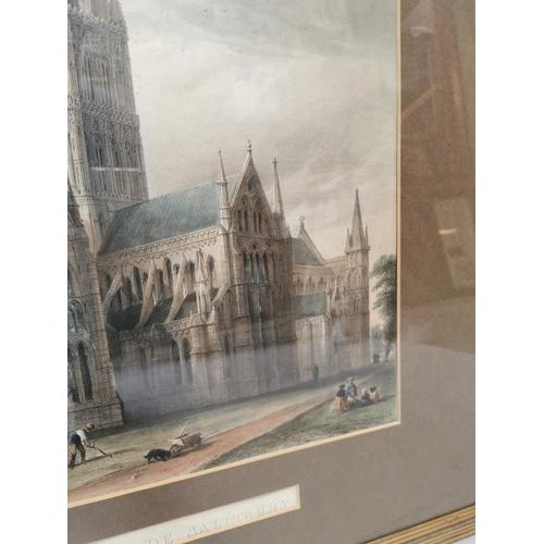 32 - 19th C. framed coloured print of Salisbury Cathedral {88 cm H x 74 cm W}....