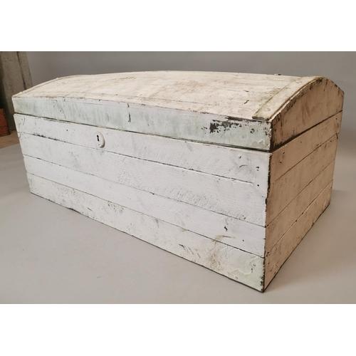 33 - 19th C. painted pine dome top trunk {52 cm H x 122 cm W x 64 cm D}....