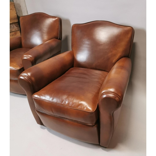 34 - Pair of exceptional quality hand dyed leather club chairs in the Art Deco style {81 cm H x 84 cm W x...