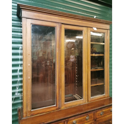 36 - Edwardian inlaid mahogany bookcase with three doors above three drawers and three blind doors {224 c...