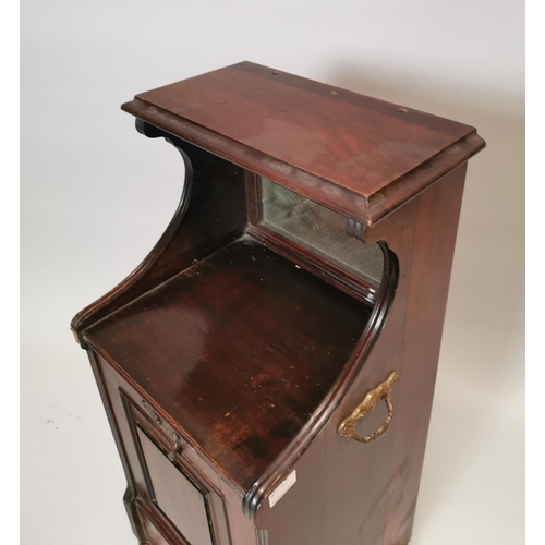 37 - Edwardian mahogany coal locker with mirrored back and original brass handles {88 cm H x 43 cm W x 37...