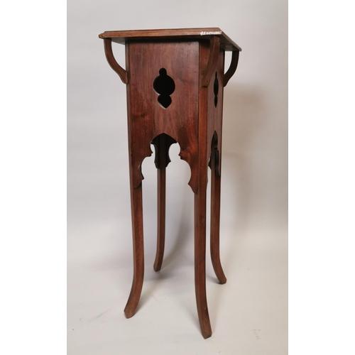 38 - Edwardian mahogany jardinière stand in the Gothic style {86 cm H x 31 cm W x 31 cm D}.