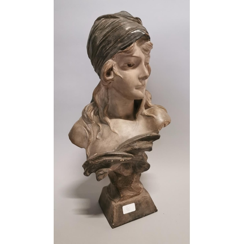 40 - Hand painted plaster bust of a Lady in the Art Deco style {58 cm H x 32 cm W x 20 cm D}....