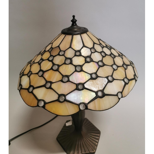 41 - Good quality stained glass table lamp in the Tiffany style {50 cm H x 37 cm Dia.}.