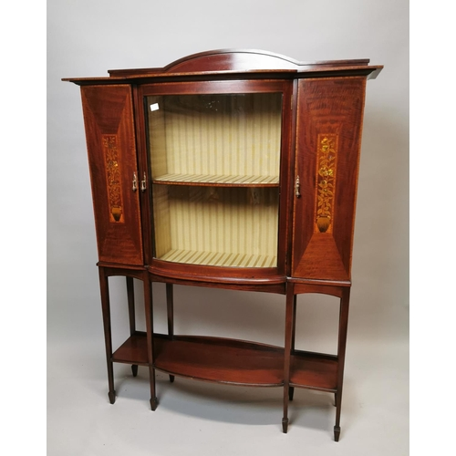 43 - Good quality Edwardian mahogany display cabinet with mother of pearl inlay raised on square tapered ...
