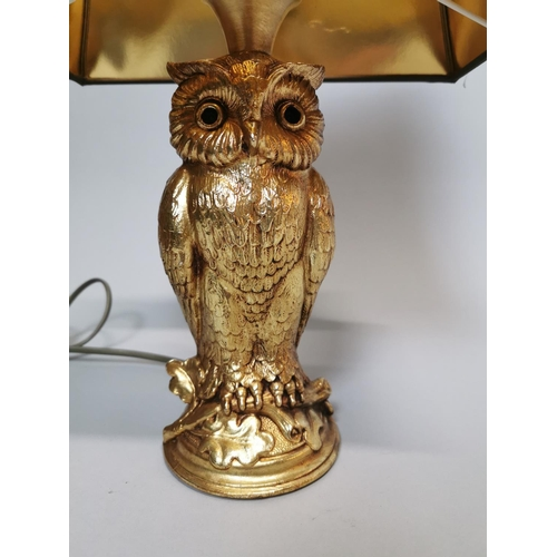 45 - Good quality gilded table lamp in the form of an Owl {42 cm H x 27 cm W x 19 cm D}....
