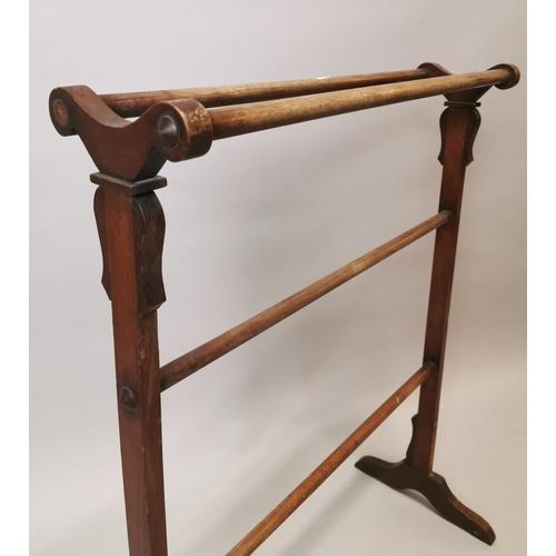 46 - 19th. C.  mahogany towel rail {100 cm H x 76 cm W x 36 cm D}....