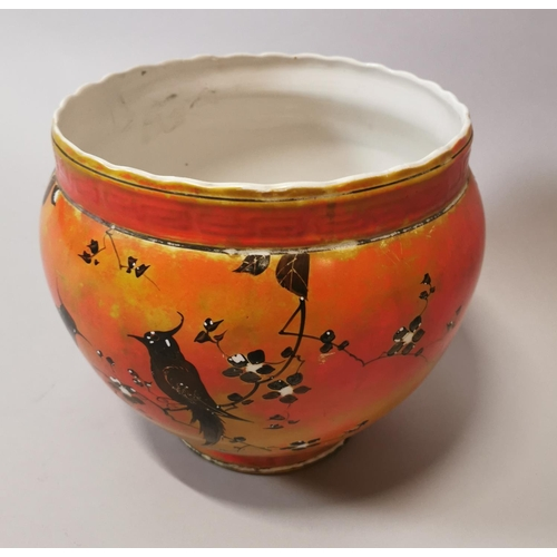 47 - 19th C. hand painted jardinière decorated with mocking jay birds {23 cm H x 28 cm Dia.}.