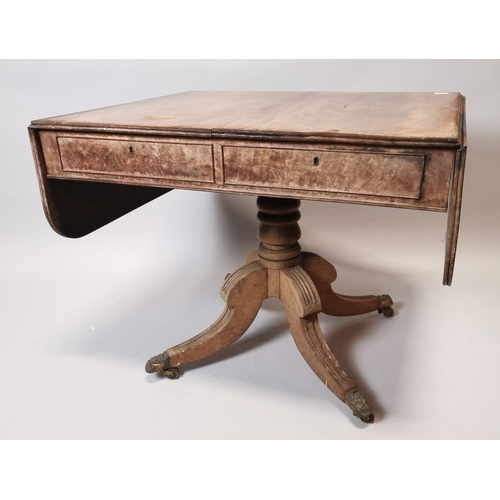 48 - Regency mahogany sofa table with two working drawers and two blind drawers in the frieze raised on t...