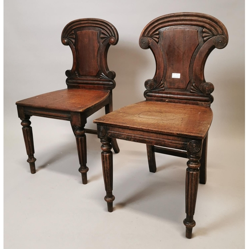 51 - Near pair of William IV mahogany side chairs {85 cm H x 43 cm W x 41 cm D}....