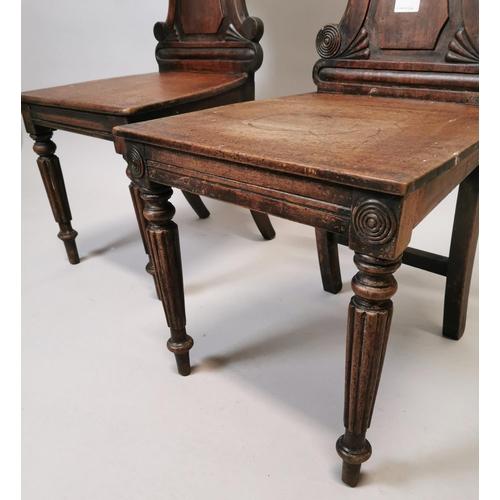 51 - Near pair of William IV mahogany side chairs {85 cm H x 43 cm W x 41 cm D}....