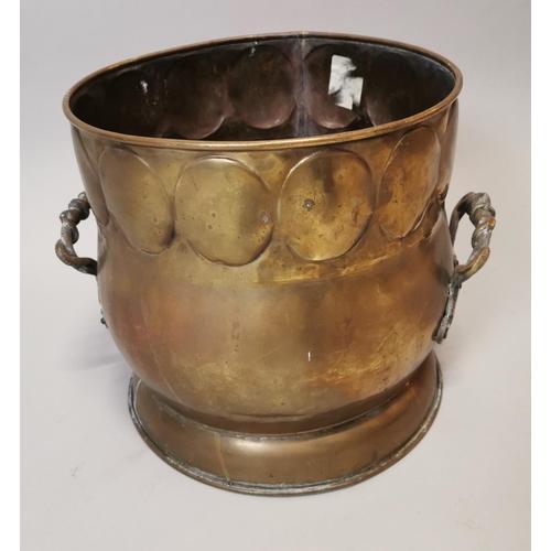 53 - 19th C. hand beaten brass coal bucket {31 cm H x 39 cm D}....