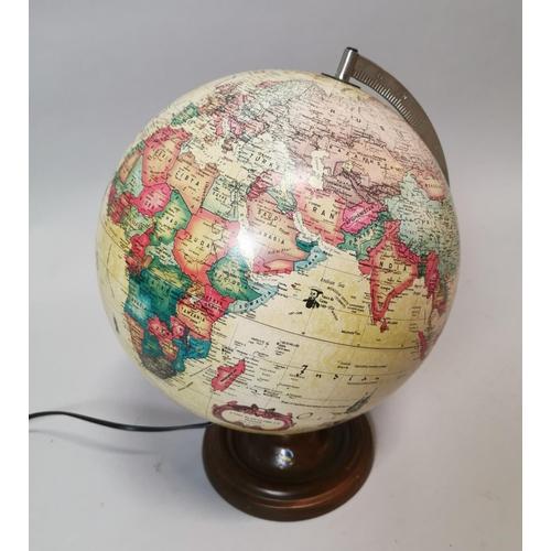54 - 1950's light up world globe {42 cm H x 29 cm Dia.}....