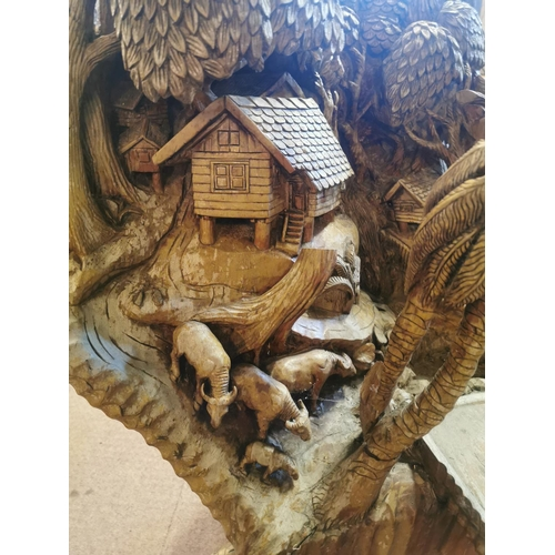 55 - Early 20th C. hand carved root wood model of a village {140 cm H x 128 cm W x 123 cm D}....