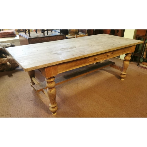56 - 19th C. scrubbed pine kitchen table raised on turned legs {78 cm H x 210 cm L x 95 cm W}....