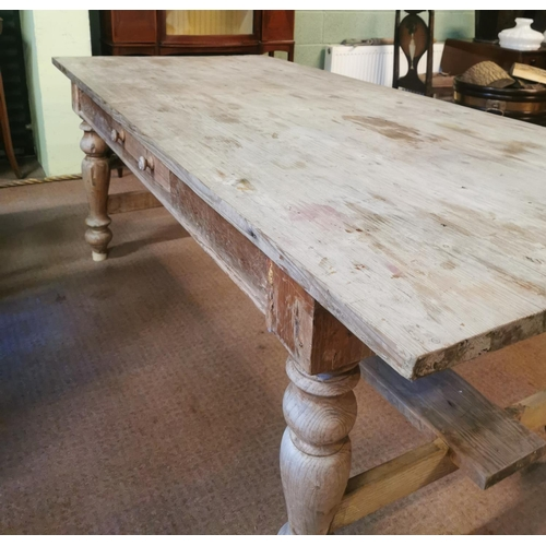 56 - 19th C. scrubbed pine kitchen table raised on turned legs {78 cm H x 210 cm L x 95 cm W}.