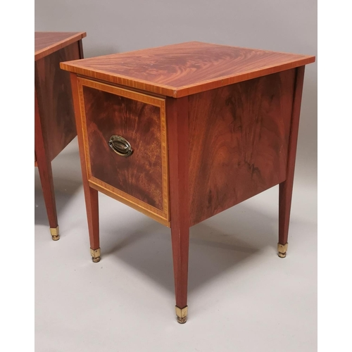 58 - Pair of exceptional quality inlaid mahogany bedside lockers in the Sheridan Style {63 cm H x 50 cm W...