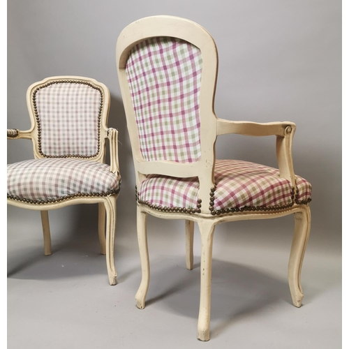 59 - Near pair of painted pine and upholstered armchairs in the French style {95 cm H x 62 cm W x 49 cm D...