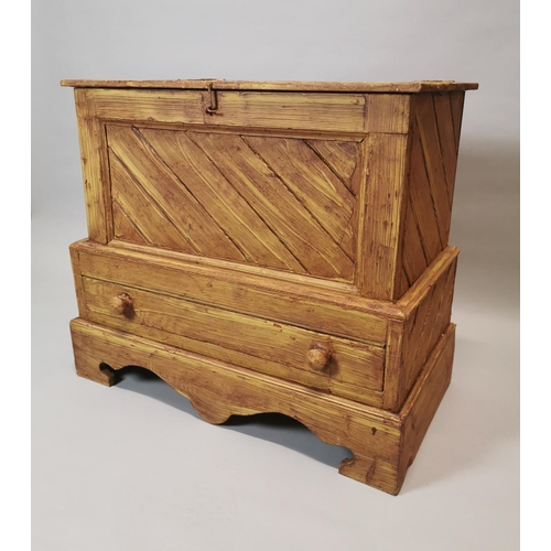 6 - Scumbled pine blanket chest with lift up lid and single drawer in the frieze raised on bracket feet ...