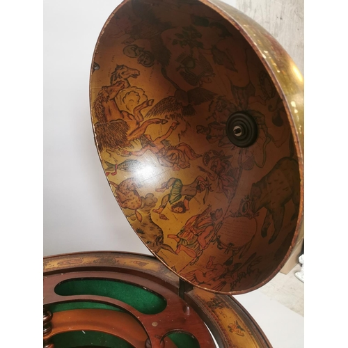 60 - Exceptional quality mahogany drinks cabinet in the form of a world globe with bronze mounts {112 cm ...