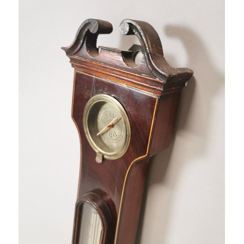 7 - Victorian inlaid mahogany banjo barometer with silver dial {97 cm H x 26 cm W}....