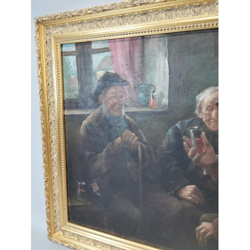8 - Framed oil on canvas The Story Teller mounted in gilt frame {77 cm H x 99 cm W}.