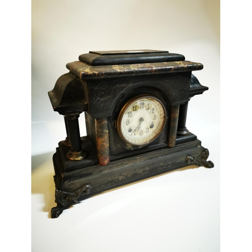 10 - Late 19th C. marbleised wooden mantle clock with enamel dial. {36 cm H x 54 cm L x 20 cm D}...