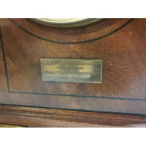 11 - Edwardian inlaid mahogany mantle clock with brass mounts. { 28 cm H 17 cm L x 19 cm D}...