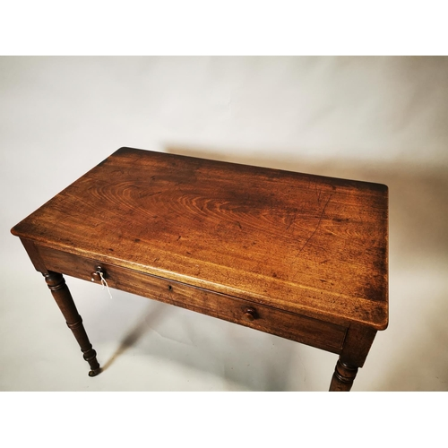 12 - Georgian mahogany side table with single drawer in frieze on turned legs. { 75 cm H x 90cm W x 53 cm...