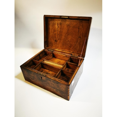 16 - Victorian walnut and inlaid writing box with fitted interior. {15 cm 33 cm L x 25 cm D}...