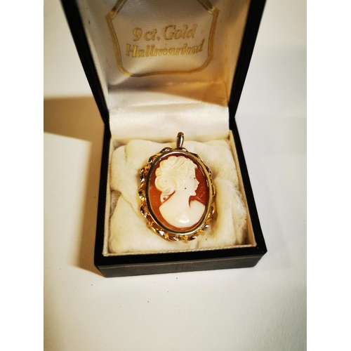 17 - 9ct gold cameo brooch....