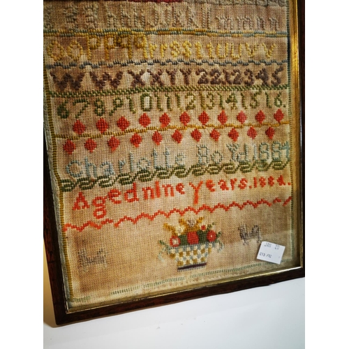 18 - 19th C. framed tapestry. {45 cm H x 28 cm W}...