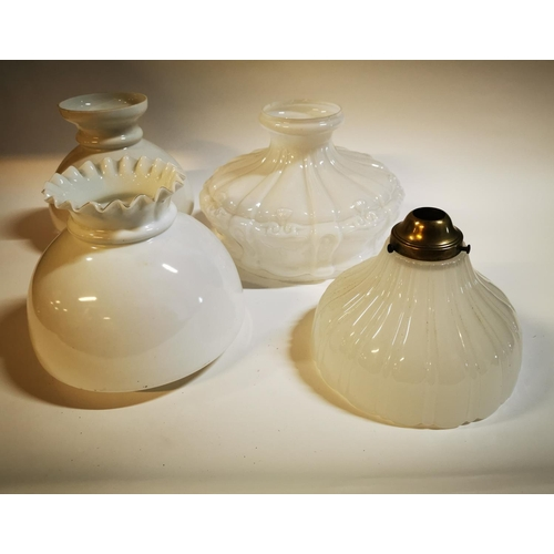 20 - Collection of four milk glass hanging light shades....