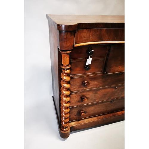 22 - Victorian mahogany scotch chest on barley twist supports. {122 cm x 126 cm W x 58 CM d}...