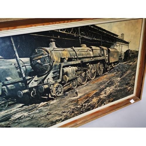 25 - Framed coloured print of a Train. {63 cm H x 113 cm L}...