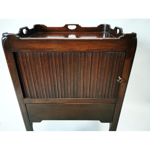 27 - Georgian mahogany pot cupboard with tambour door on square reeded legs. {76 cm H x 44 cm W x 48 cm D...