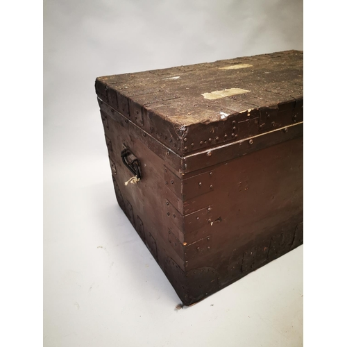 28 - Early 20th C. pine and metal bound travelling trunk {51 cm H x 92 x W x 55 cm D}....