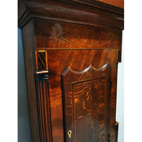 29 - Victorian mahogany and oak inlaid Grandfather clock with painted dial {236 cm H x 55 cm W x 23 cm D}...