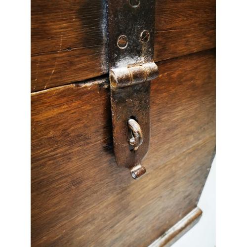 31 - Exceptional quality early 19th C. oak metal bound Estate trunk {73 cm H x 62 cm W x 56 cm D}....