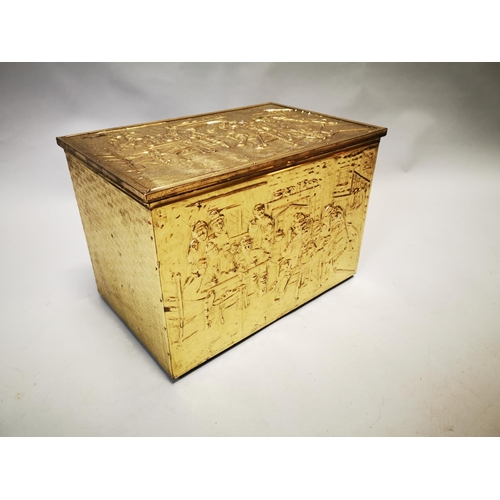 33 - Edwardian embossed brass coal box {36 cm H x 51 cm W x 34 cm D}....