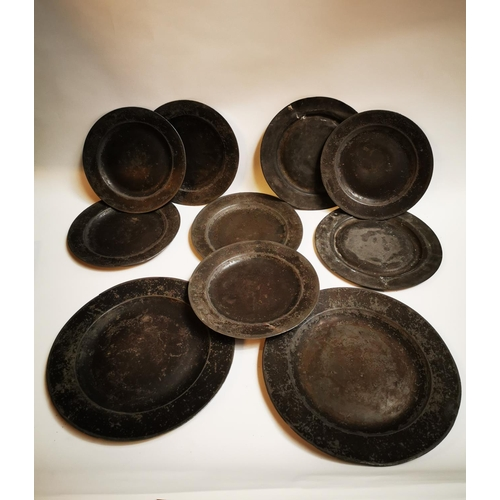 34 - Collection of ten 18th C. pewter plates....